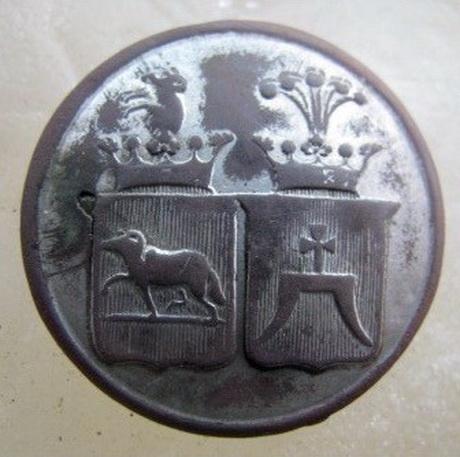 Ливрейная пуговица с гербами Собанских и Божинец-Еловицких