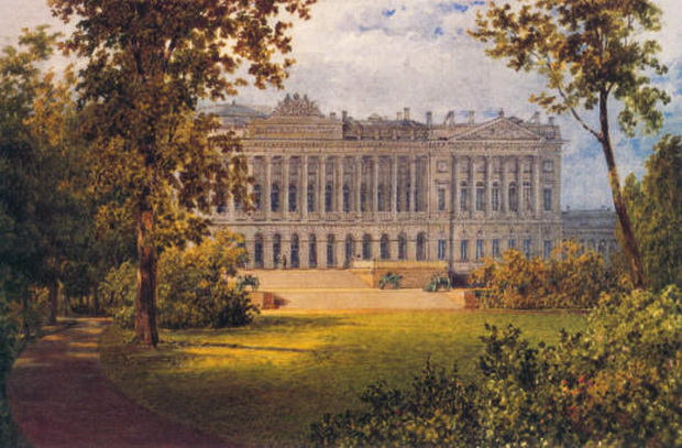 Садовый фасад Михайловского дворца. В.С.Садовников. Вторая половина 1840-х 620