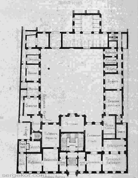 Проект А.И. Крокау дворца барона Штиглица. Схема первого этажа.