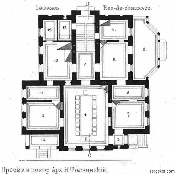 Школа Садоводства. План первого этажа.
