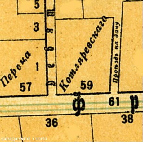 Карта 1912 года с фрагментом Французского бульвара 59.