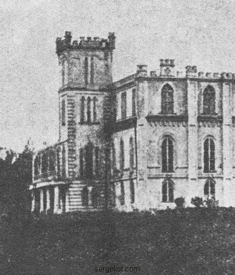 Червоно. Дворец. Левый боковой фасад на фрагменте фото примерно 1914 года.
