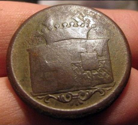 Ливрейная пуговица с гербами Собанских и Любенских