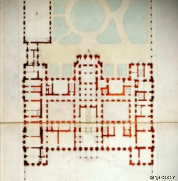 Фрагмент чертежа Николаевского дворца, выполненного Штакеншнейдером.