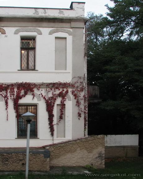 Дача Е. Щехтер, Парковый фасад.  Угол.