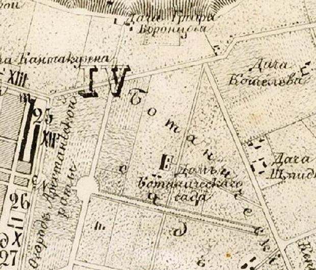 Малофонтанская дорога. Городской Ботанический сад и питомник.1855.