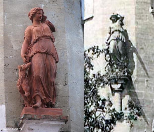Дача Параскевы, сравнение статуй. Левая.