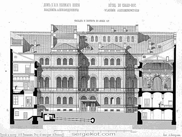 Владимирский дворец, дворовой фасад.