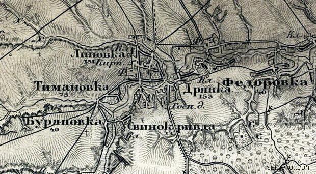 Тимановка на карте Шуберта, лист  26-7-сайт