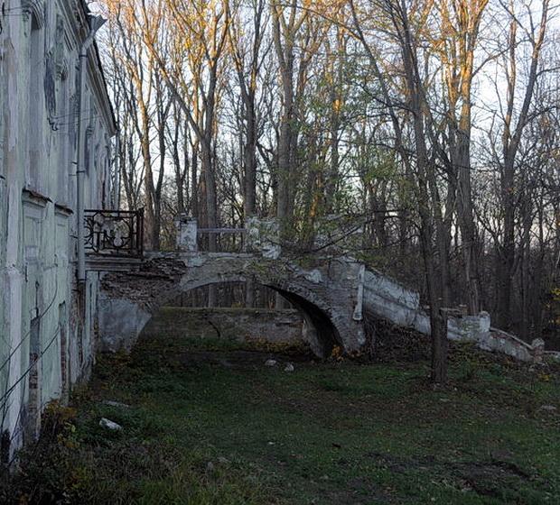 Тимановка. Парковый фасад.Терраса-мостик.