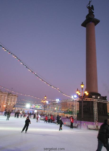 Санкт-Петербург. Каток на Дворцовой площади.