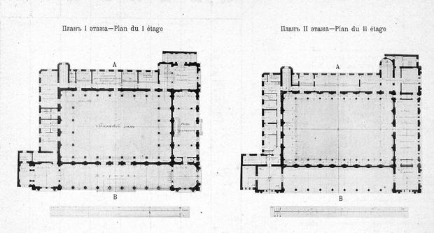 Новая Биржа, проект В.А. Шретера, разрез этажей.