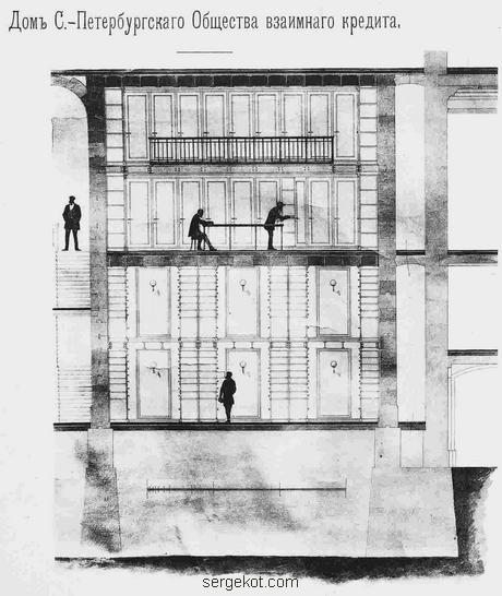 Проект фасада здания Спб. Об-ва Взаимного Кредита. П.Ю. Сэзора.. Разрез здания.